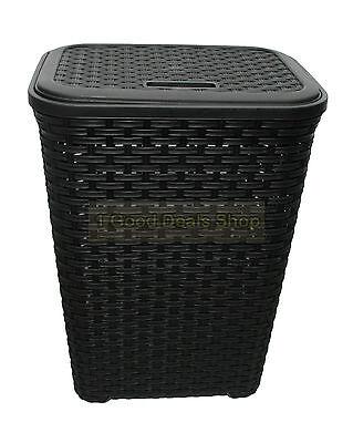 60L Woven Style Rattan Plastic Corner Large Laundry Basket bin Storage