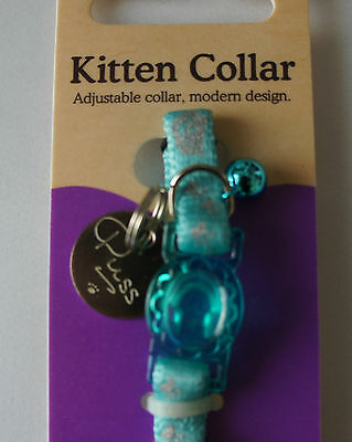 Rosewood Reflective Blue Safety Kitten Collar With Id Tag 2