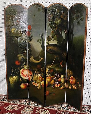 Antique Style French Four Panel Hand Painted Peacock Fruit Screen Divider 5