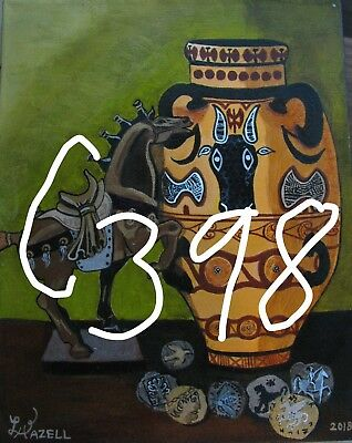 "A847     Original Acrylic Aceo Painting By Ljh ""Folk Art Cat"" 8"