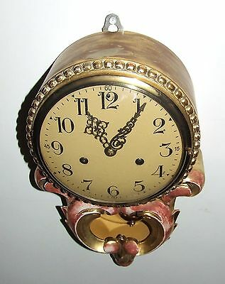 Antique Style Cartel Wall Clock Pink & Gilt Decorative Finish Shabby Chic 9