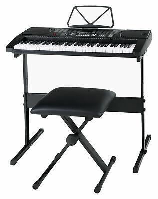 Tastiera Musicale Elettronica 61 Tasti 255 Suoni con Supporto Sgabello Cuffie 12