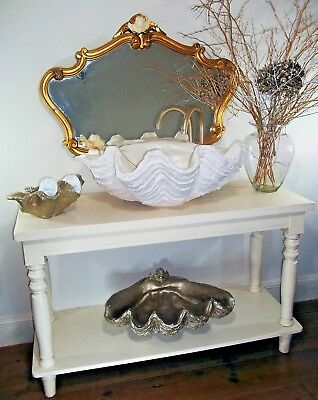 Giant Clam Shell Bathroom Sink Wash Basin Vessel Art Sculpture In Pearl White
