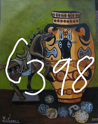 "C394        Original Acrylic Painting By Ljh    ""Purple Haze''      Still Life 5"