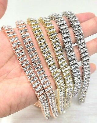 ddc68643963e1a ... 14k Rose Gold Tennis Chain 2 ROW Lab Diamond Iced Out Silver Hip Hop  Necklace 3