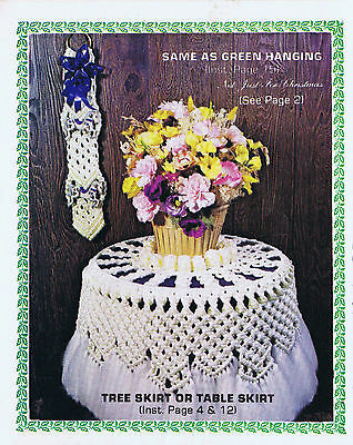 VINTAGE MACRAME PATTERNS 1970s CHRISTMAS TREE TABLECLOTH WALL HANGING ORNAMENTS