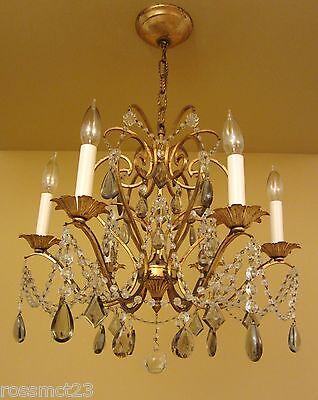 Vintage Lighting antique 1960s Lightolier crystal chandelier   Stunning 3