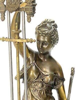 "Large Mystery Brass Lady Diana 8 Day 4"" Cobalt Blue Ball Swinging Clock 5"