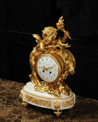 Superb Antique French Ormolu And White Marble Clock - Cupid 4