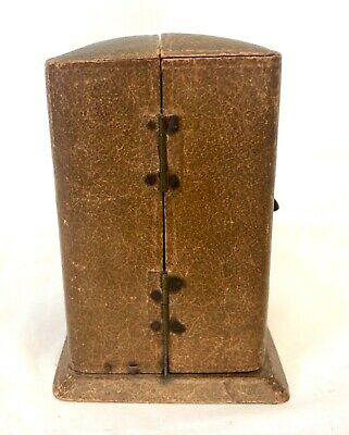 Antique 8 day Miniature Brass Carriage Clock Timepiece with Travelling Box Case 11