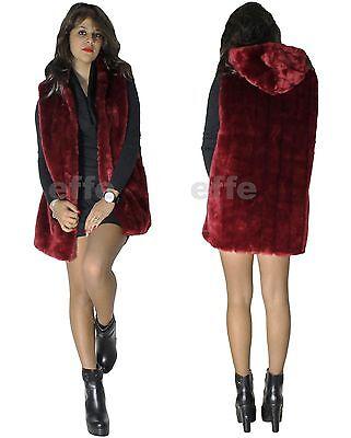 timeless design e5d9f ed10d GILET DONNA SMANICATO eco pelliccia con cappuccio sexy lungo nuovo