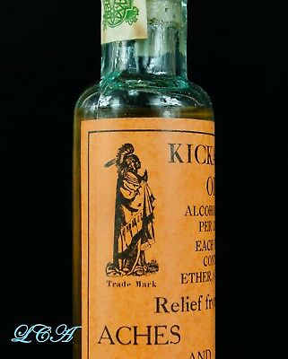 The Real Thing = KICKAPOO INDIAN OIL antique QUACK MEDICINE bottle IN orig. BOX 3