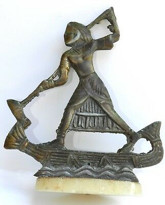 Rare Antique Bronze Statue Sculpture Egyptian King Tut Mounted Boat Marble