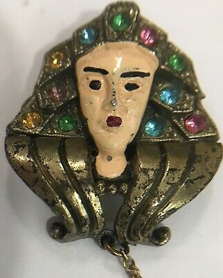 Vintage Egyptian Revival Cleopatra and Scarab Enamel Rhinestone Chatelain Pin 2