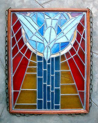 Vintage Church Stained Glass Window Salvage Bird Leaded HOLY SPIRIT DOVE Peace 4