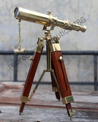 Vintage Solid Brass Telescope With Wooden Tripod Nautical Navy Ship Telescope 4
