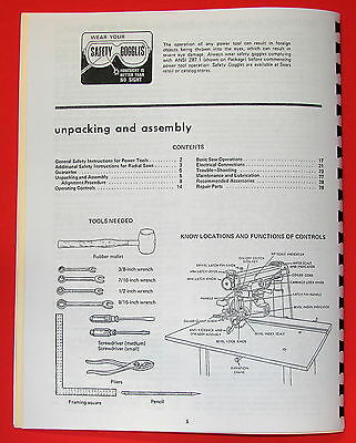 "CRAFTSMAN 10"" Radial Arm Saw 113.23100 Owners Instructions & Parts Manual 1052"