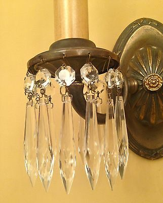 Vintage Lighting four matching 1920s Colonial crystal sconces 2