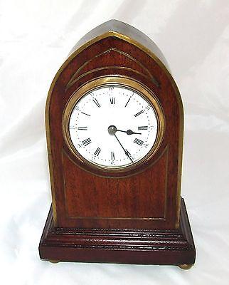 Antique Brass Inlaid Mahogany Miniature Bracket Mantel Clock CLEANED & SERVICED 3