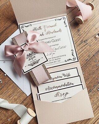 Rose Gold Nude Blush Pink Luxury Glitter Pocketfold Wedding Invitation *Sample* 4