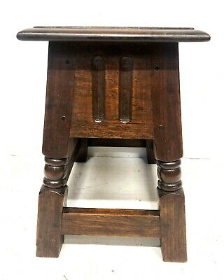 Antique Carved Oak Joint Stool Slipper Box / Occasional Table / Lamp Stand 9