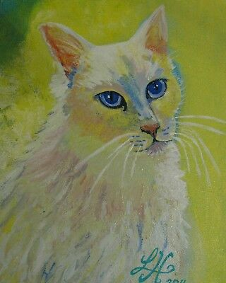 """A654     0Riginal Acrylic Aceo Painting By Ljh """"Oriental Shorthair"""" Cat Kitten 10"""