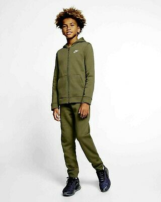Nike Junior Boys Fleece Sportswear Lifestyle Tracksuit Track suit Khaki Olive 3