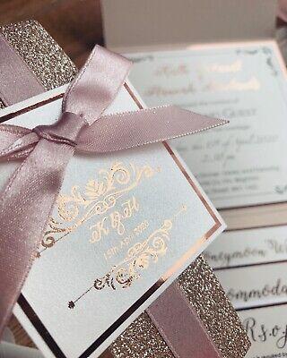 Rose Gold Nude Blush Pink Luxury Glitter Pocketfold Wedding Invitation *Sample* 7