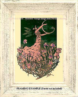 Art Nouveau FAIRY with SWAN HARP Night Sky STARS Irises Frogs Antique ART PRINT