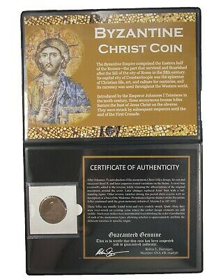 ANCIENT BYZANTINE COIN of JESUS CHRIST LARGE 10th and 11th Century with COA 4