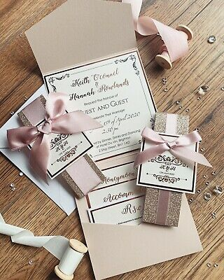Rose Gold Nude Blush Pink Luxury Glitter Pocketfold Wedding Invitation *Sample* 3