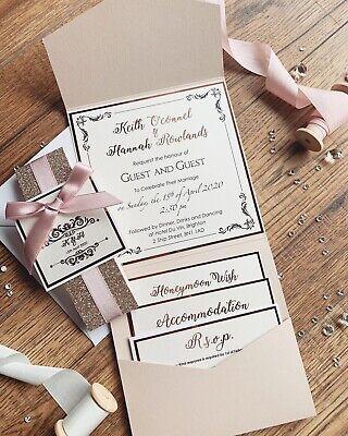 Rose Gold Nude Blush Pink Luxury Glitter Pocketfold Wedding Invitation *Sample* 6