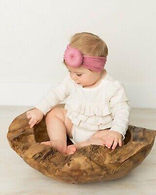 Baby Girls Bow Bun Turban Headband Hair band Head Wrap Cute Kids Plain Stretch 6