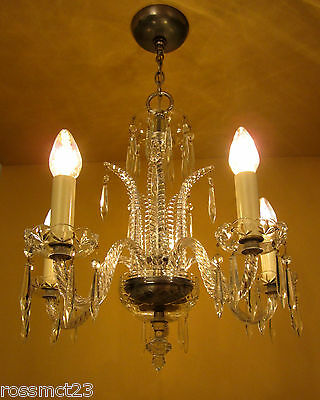 Vintage Lighting antique 1930s Art Deco crystal chandelier   High Quality 3