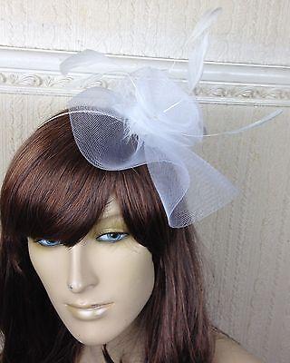 white netting feather hair headband fascinator millinery wedding hat ascot race 3