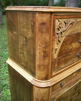 Marquetry Antique Furniture Highboy Chest Drawers Dresser French Provincial 11