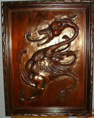 Talla De Dragón De Madera, Enmarcado, 55X40 Ctms 2
