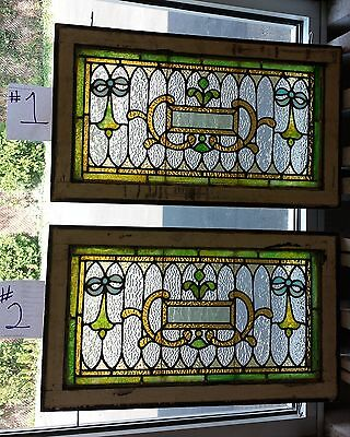 Pair of antique Victorian stained leaded glass windows 2