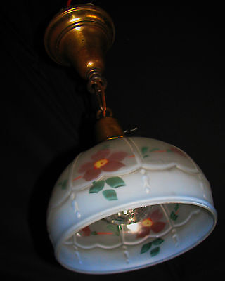 Art Deco Antique Pendant Swag Glass Shade Slip Ceiling Light Fixture Chandelier 4