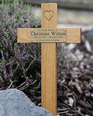 "17"" Tall Oak Carved Heart Wooden Memorial Cross Engraved Plaque Grave Marker pet 5"