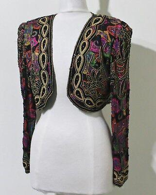 Jasdee Vintage Beaded Bolero Jacket Long Sleeve HandWork & HandPrint Style 2002 2