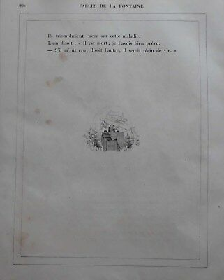 G.Dore1889/2 Blatt Holzschnitte zu LES MEDICINS:Fabeln de la Fontain.Drucksign. 11