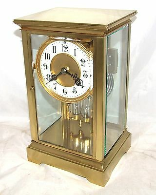 Antique French Four Glass Brass Striking Bracket Mantel Clock CLEANED & SERVICED 2