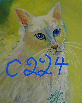 "C74  Original Acrylic Painting By Ljh   ""Minnie""   Cat 4"