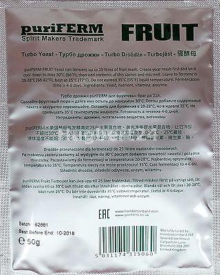 10 X Turbohefe puriFERM Fruit Obst Vodka Alkohol Gärhefe Hefe Schnaps + GRATIS 3