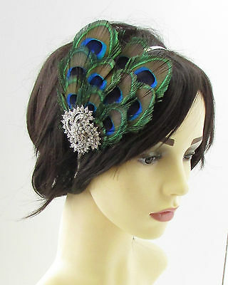 2 of 3 Silver Green Peacock Feather Fascinator Headpiece 1920s Headband  Vintage 30s 880 fb7f580148c