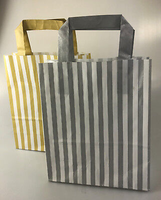 FLAT STRIPE Handle Coloured Paper Bags For Parties & Christmas Bags 12