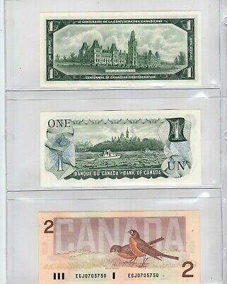Canada 1967 - 1973 - 1986 Set of 3 Crisp UNC Uncirculated $1 & $2 Bills!! 2