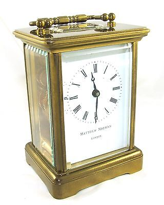MATTHEW NORMAN LONDON SWISS MADE Brass Carriage Clock with Key : Working (49) 3