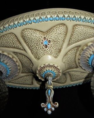 1 Vtg Art Deco Era Victorian Cast Ceramic Flush Mount Chandelier Ceiling Fixture 7